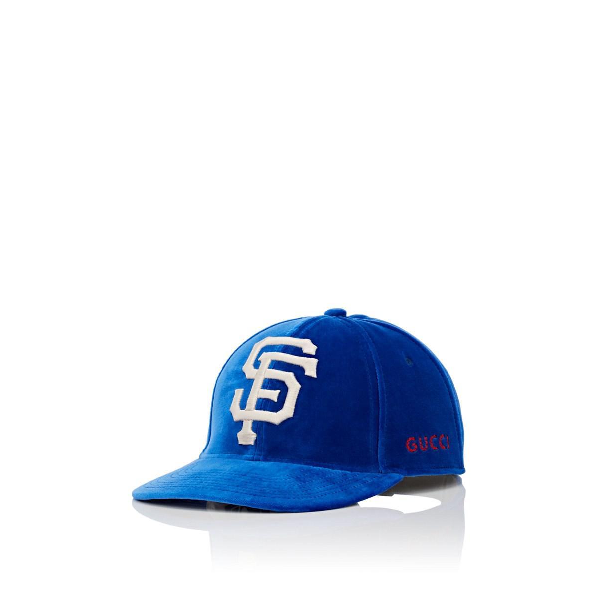 Lyst - Gucci Sf Giantstm Velvet Baseball Cap in Blue for Men f3f8e6669d3