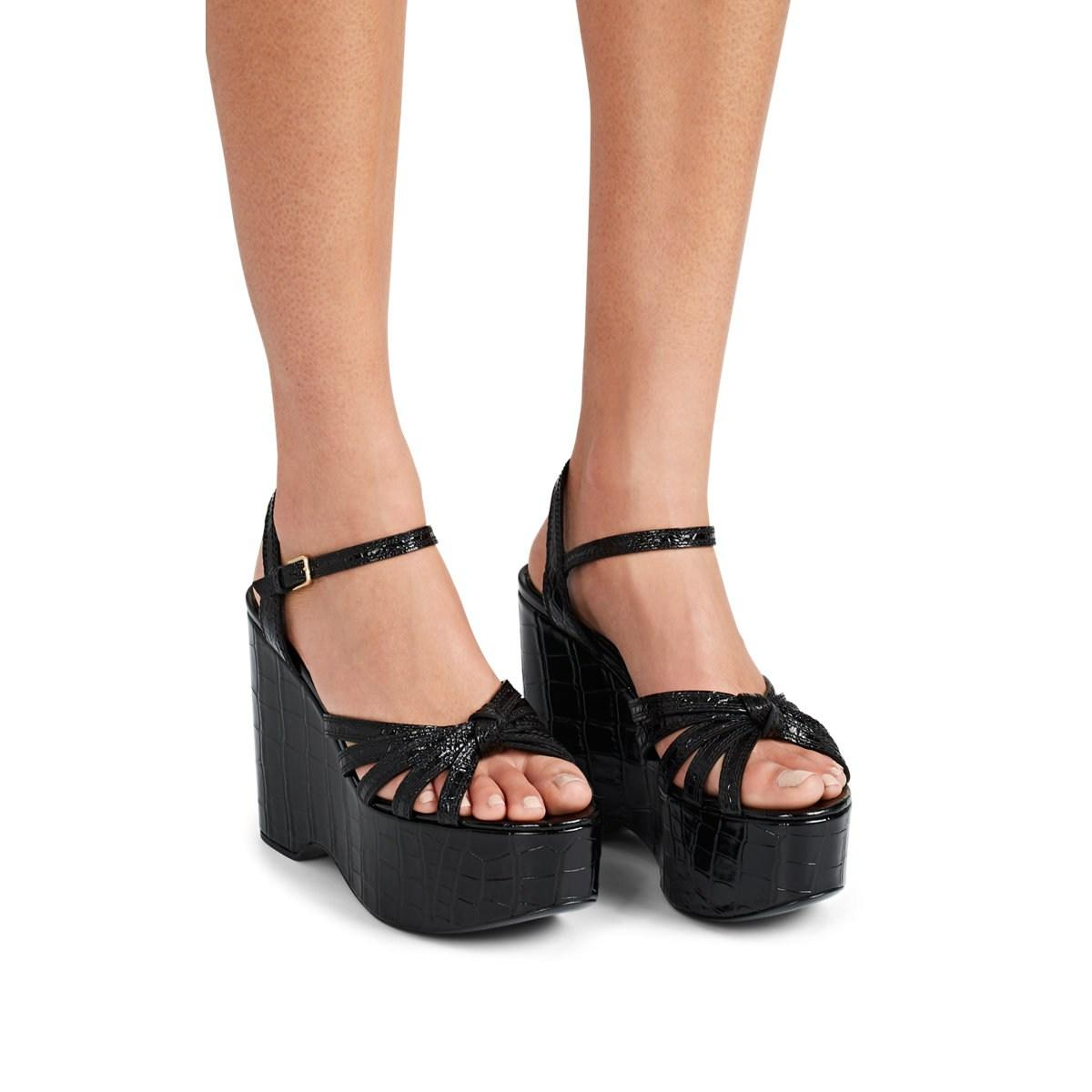 ed510ea1314f Burberry - Black Margate Stamped Leather Platform-wedge Sandals - Lyst.  View fullscreen