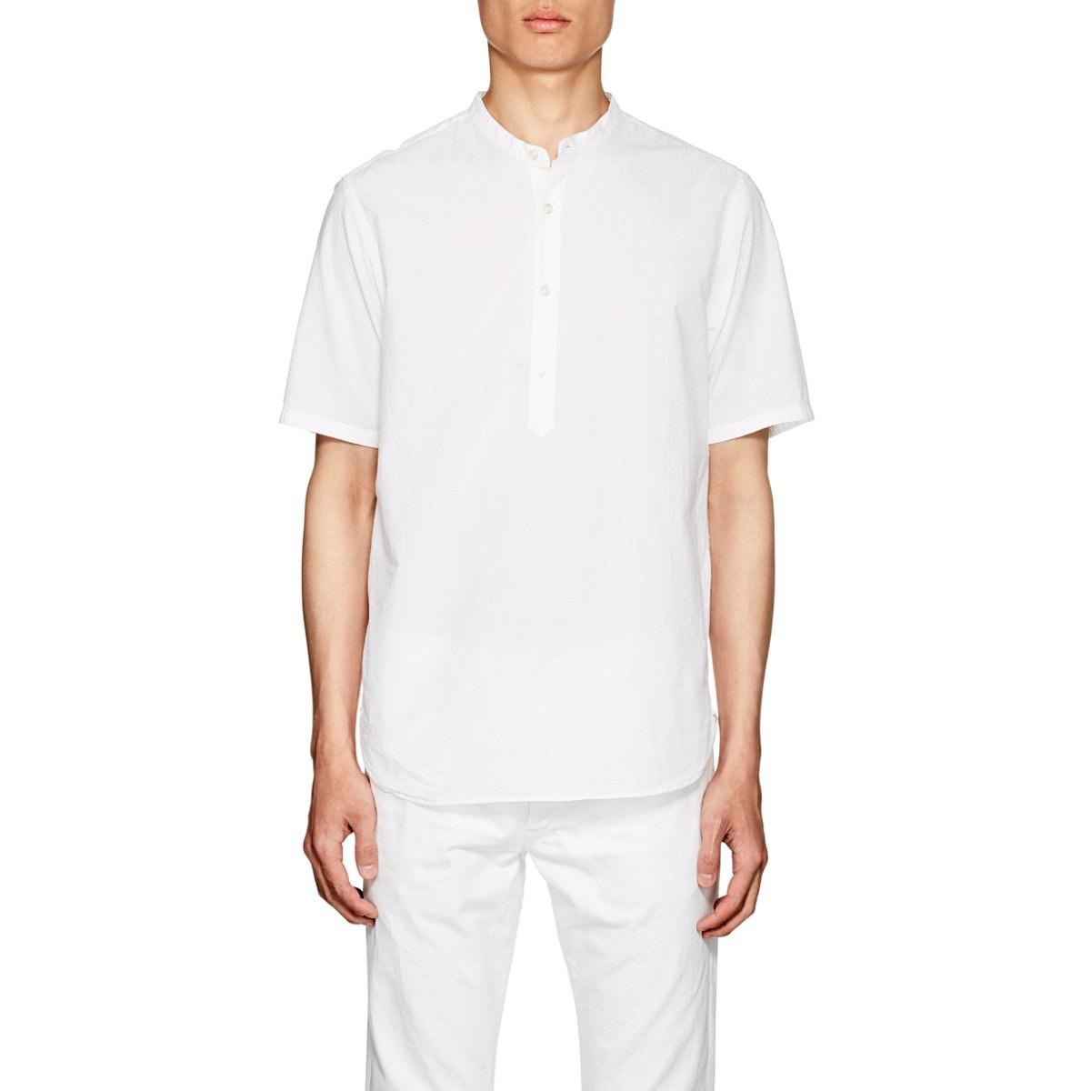 Cheap Outlet Store Mens Cotton Seersucker Henley Officine Generale Really Online Cheap Browse usjwo