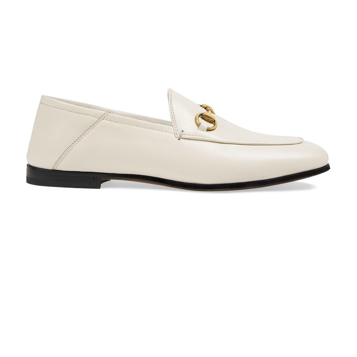 c0309b8caec Lyst - Gucci Brixton Leather Loafers in White