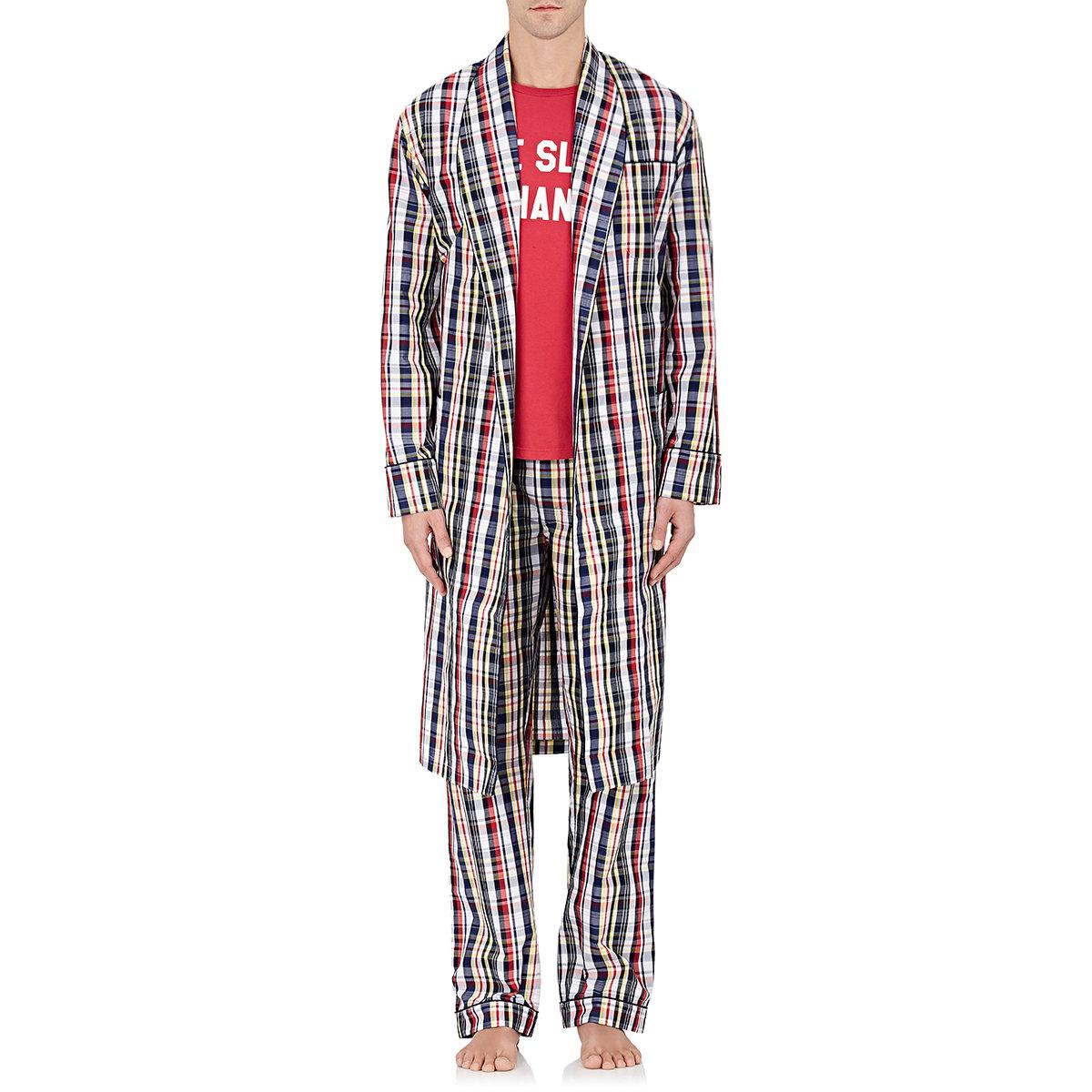 Lyst - Sleepy Jones Madras Plaid Cotton Robe in Red for Men 4bd89752d