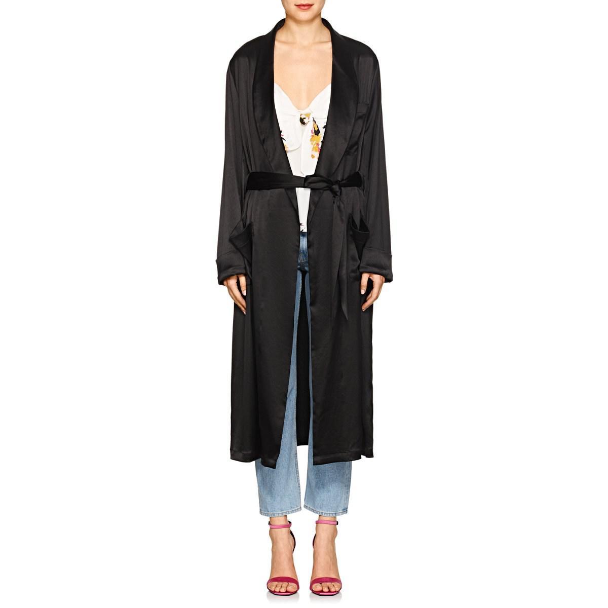 596c321c1bfce Icons Satin Robe Coat in Black - Lyst