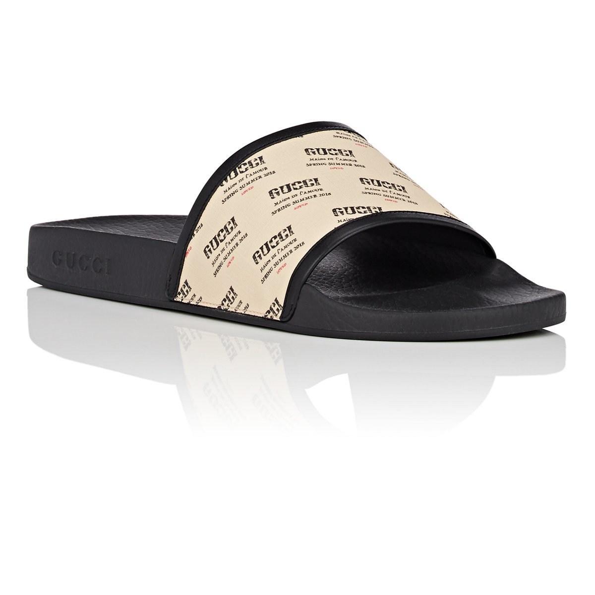 2efa22f9588 Gucci Invitation-print Slide Sandals in White for Men - Lyst