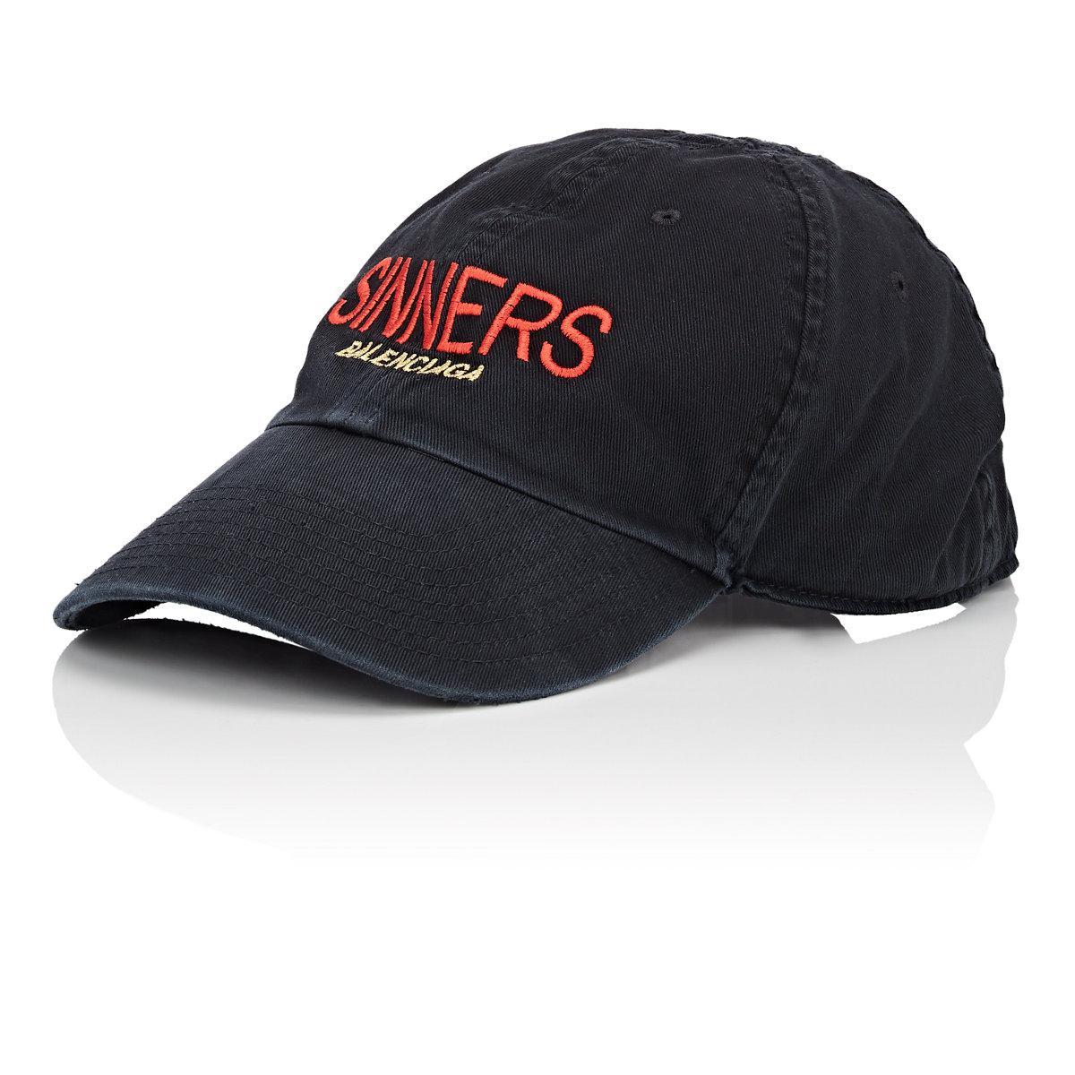 428ae0815be57 Balenciaga sinners Cotton Baseball Cap in Black for Men - Lyst
