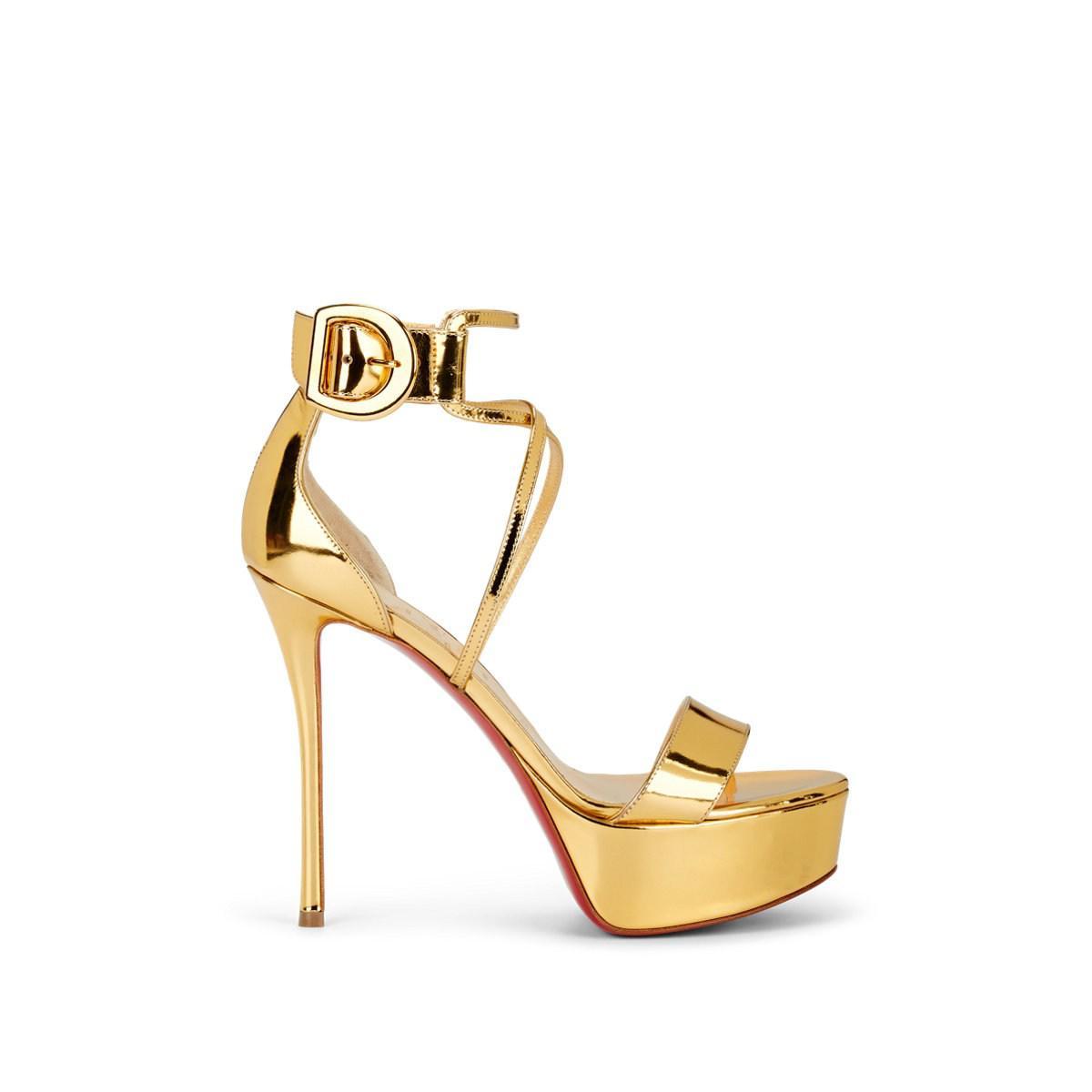 af556eb1ba14f Christian Louboutin Choca Specchio Leather Platform Sandals in ...