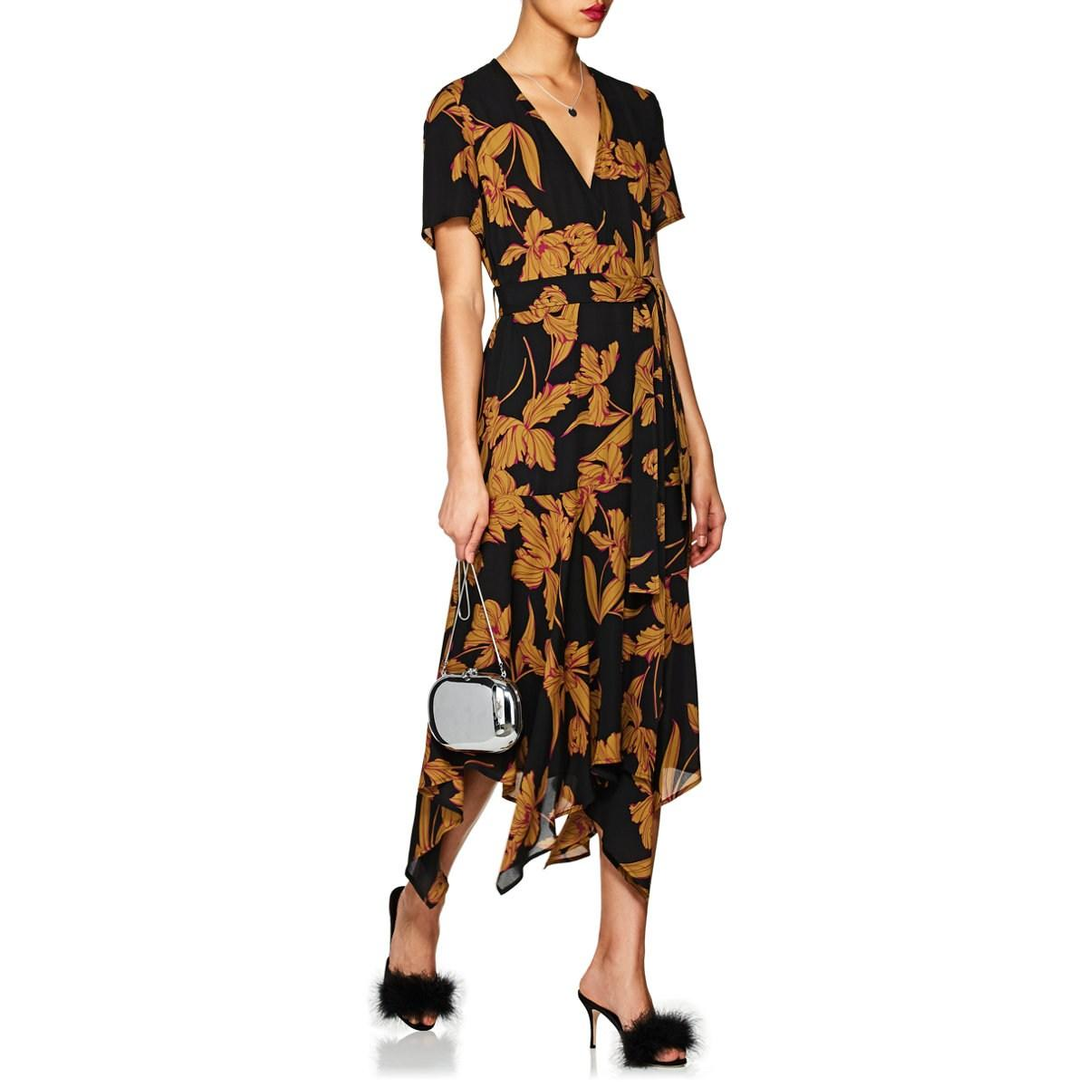 27bd431e31f9 A.L.C. Cora Floral Silk Wrap Dress in Black - Save 75.10822510822511 ...