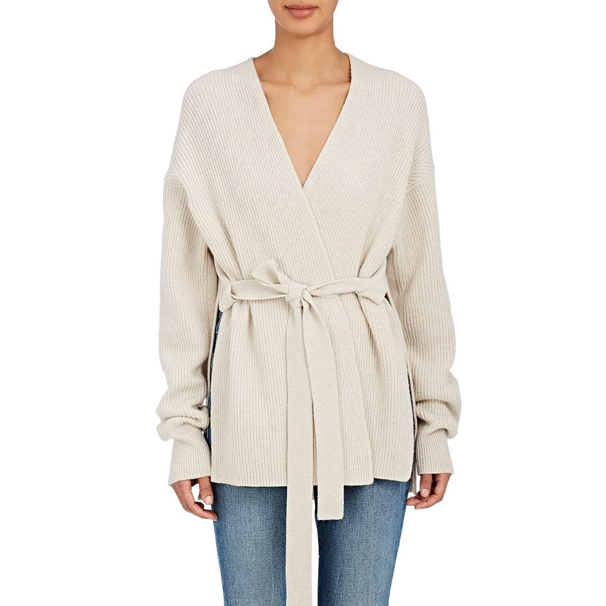 Helmut lang Cashmere Cardigan Sweater in White | Lyst