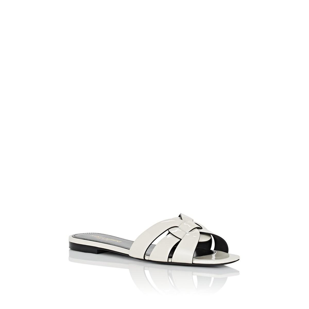 a858ad6d4e19 Saint Laurent - White Nu Pieds Patent Leather Slide Sandals - Lyst. View  fullscreen