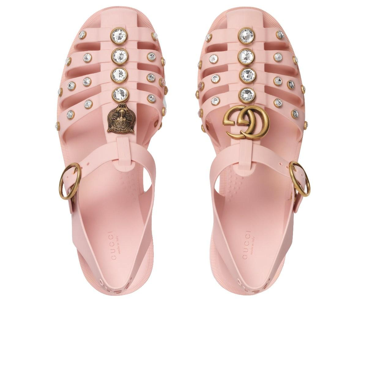 5934e8d79 Gucci Rubber Sandal With Crystals in Pink - Lyst