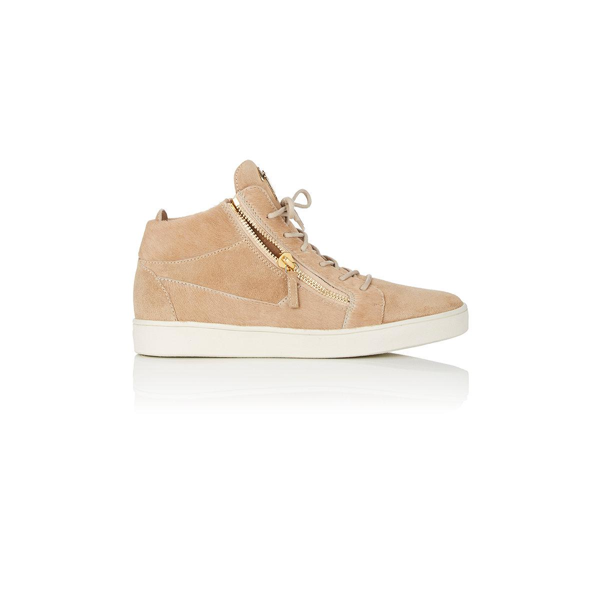 Giuseppe ZanottiCalf leather and beige suede low-top sneaker DOUBLE
