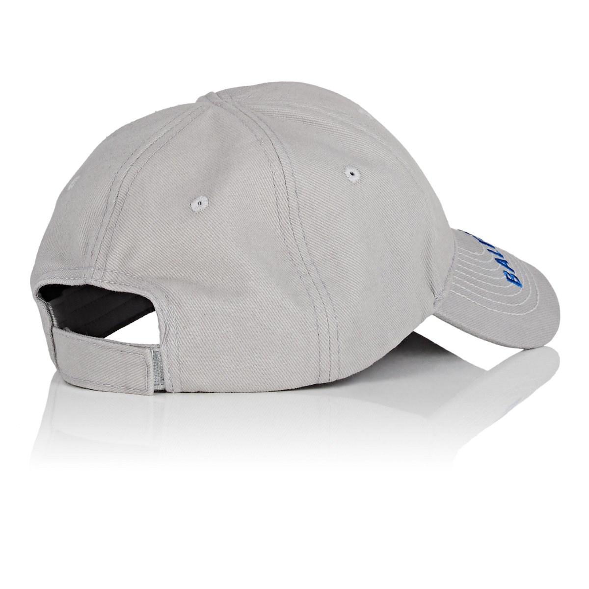 67638651 Balenciaga - Gray Logo-embroidered Cotton Cap for Men - Lyst. View  fullscreen