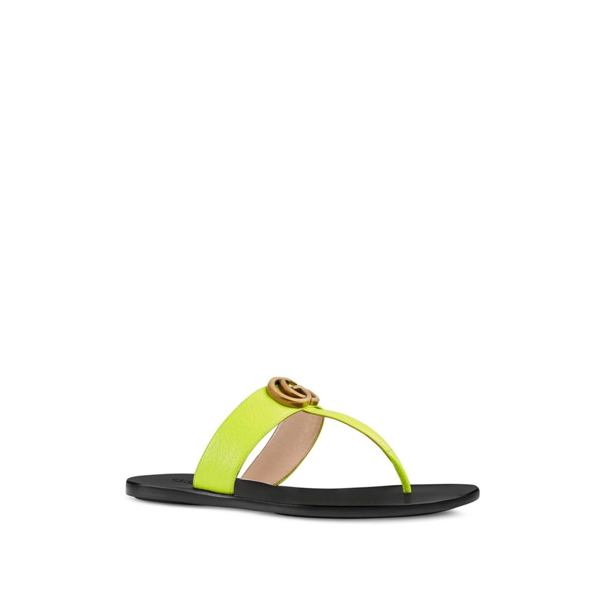 a35b586c0bd Lyst - Gucci Marmont Leather Thong Sandals in Green