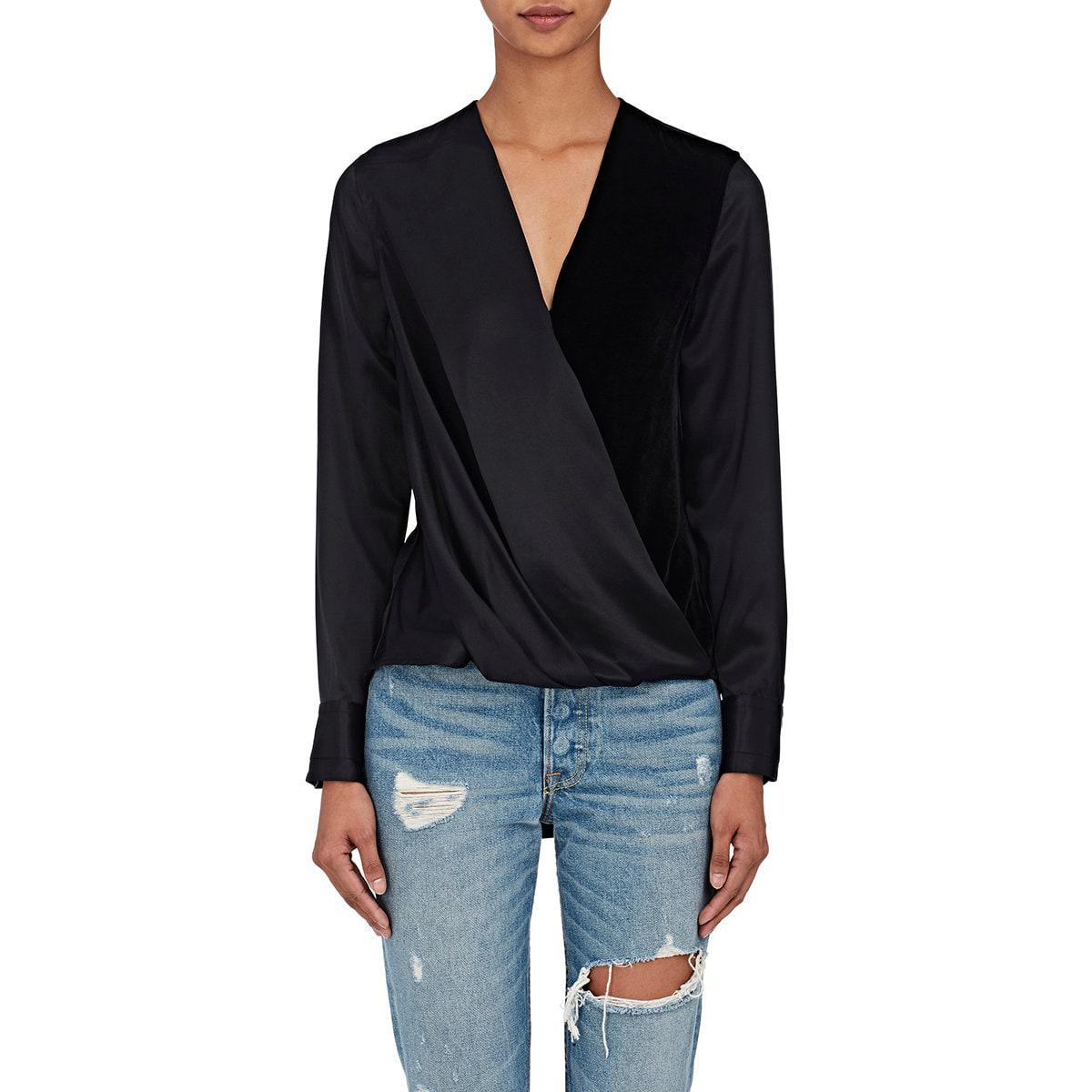 d95355bee38e8 Lyst - Rag   Bone Victor Silk Crossover in Black