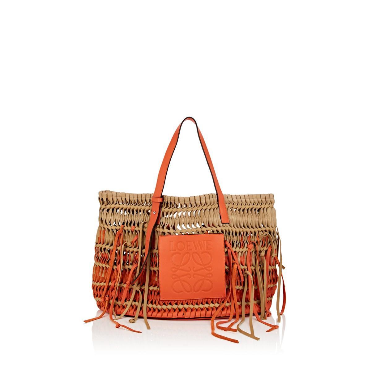 cdecbf1fa Loewe Woven Leather & Suede Tote Bag in Metallic - Lyst