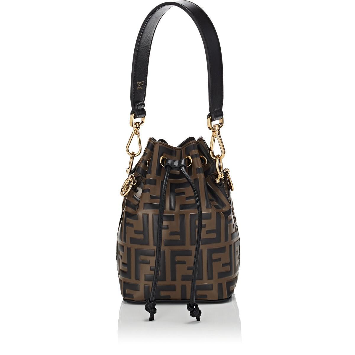 99f866fc4e73 ... shop fendi mon tresor mini leather bucket bag in brown lyst 8925c c464f