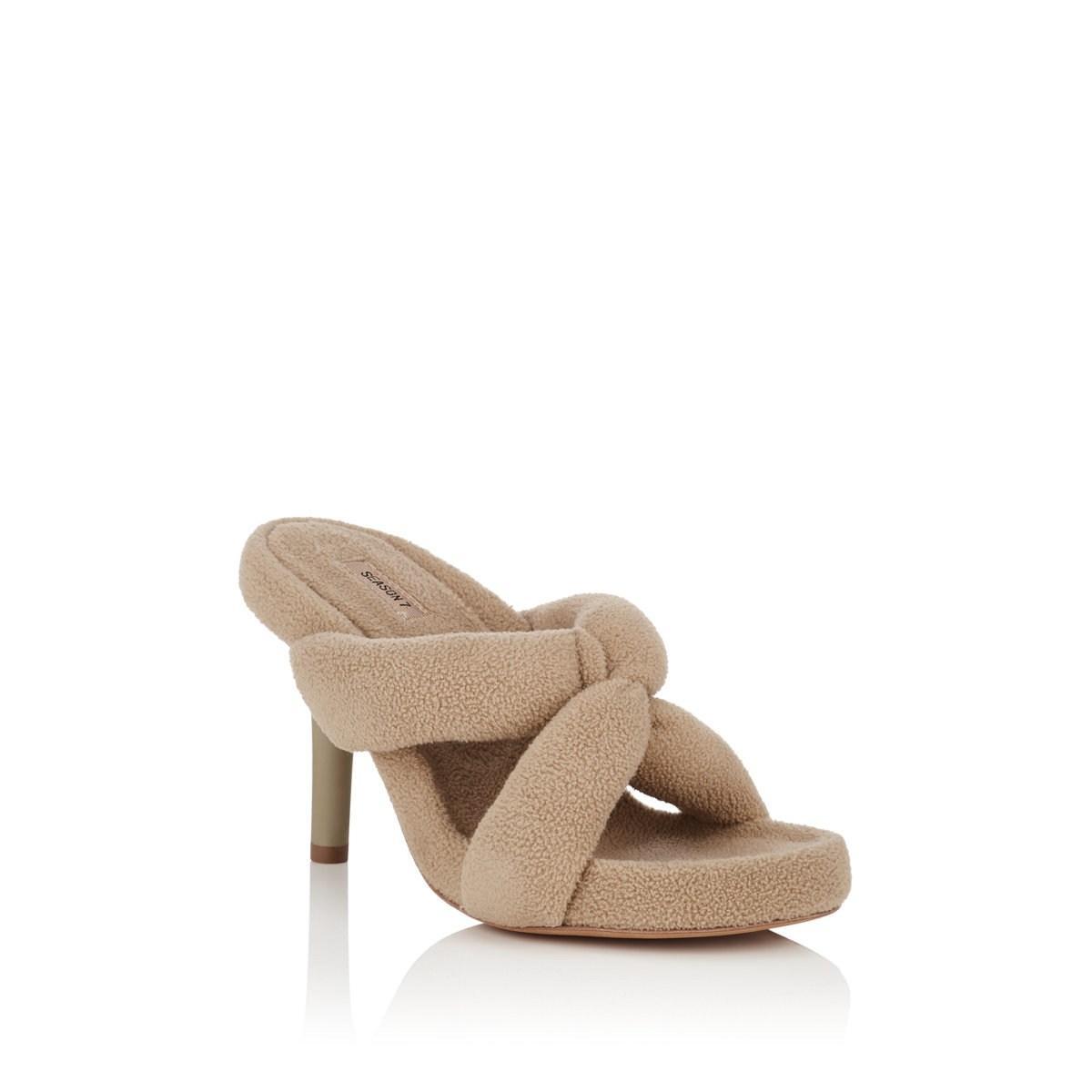 ff51b7a523022 Yeezy - Natural Crisscross-strap Fleece Sandals - Lyst. View fullscreen
