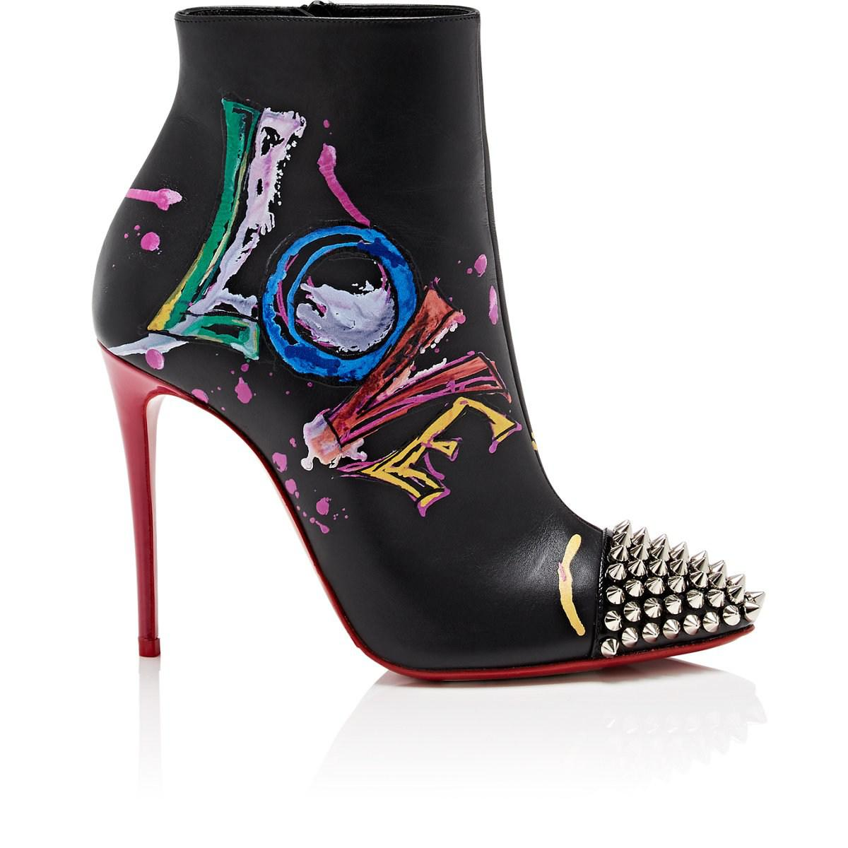4cbc79e8eb78 ... clearance christian louboutin. womens black in love leather ankle boots  c91ad 1cc45