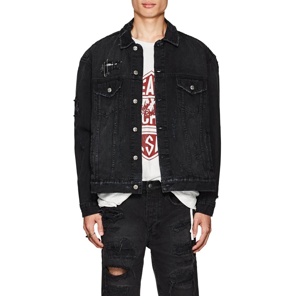c2fb2e9191 Ksubi Oh G Distressed Denim Oversized Jacket in Black for Men - Lyst