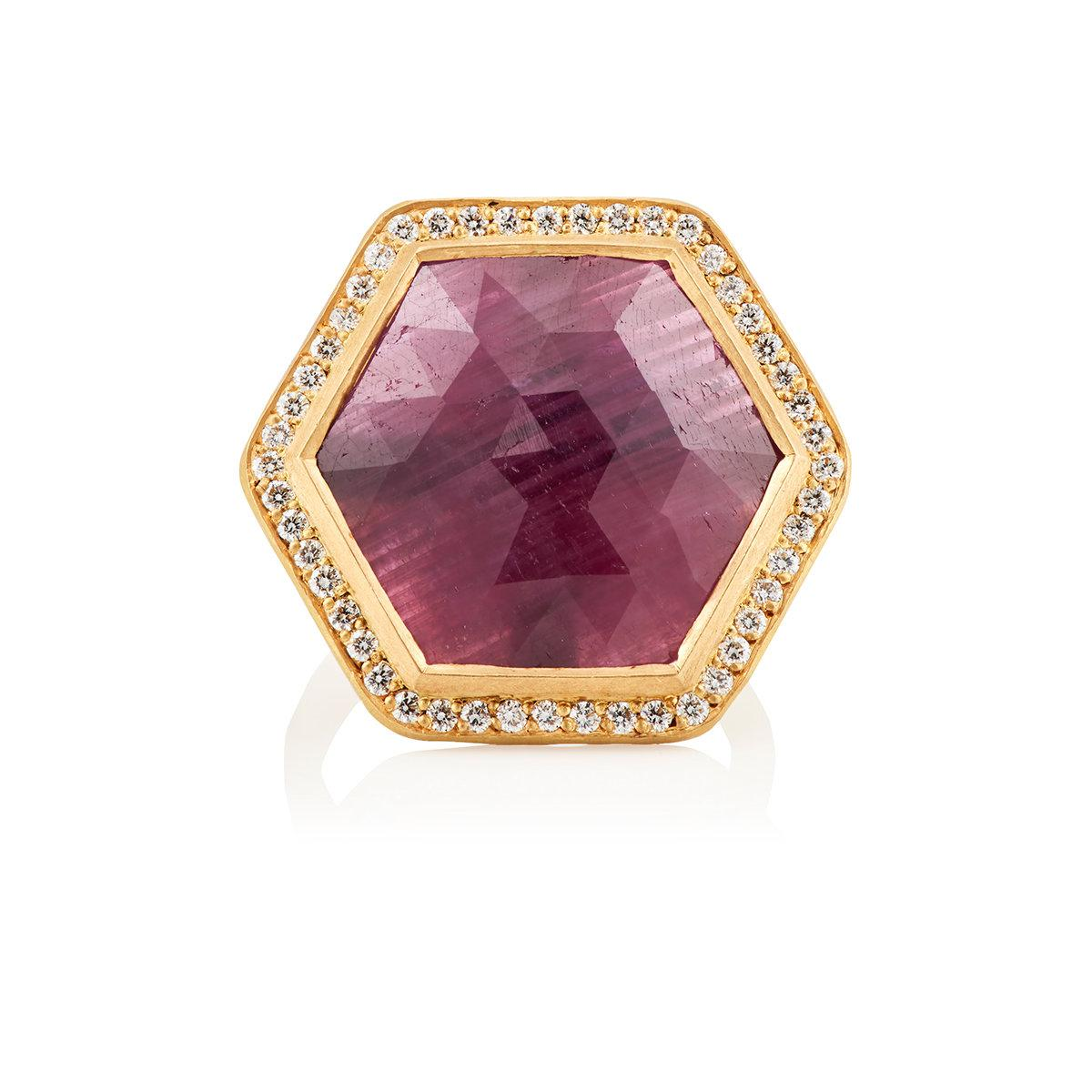 Malcolm Betts Womens Hexagonal Ruby & White Diamond Ring AxuCoRm49s
