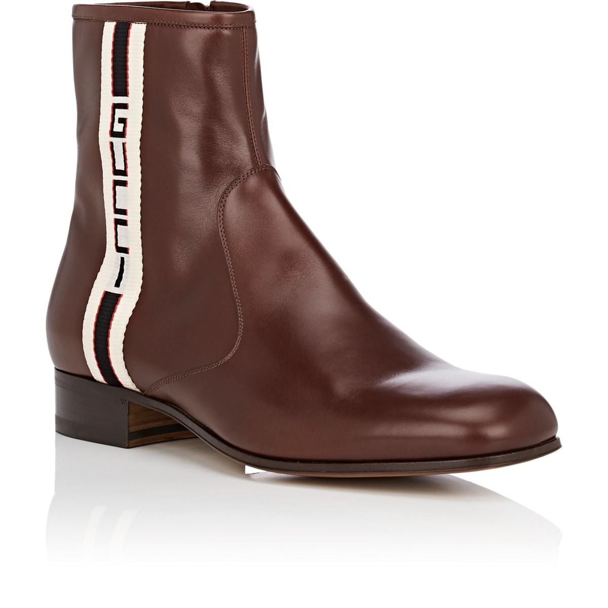 d515704bbf5 Gucci - Brown Stripe Leather Boot for Men - Lyst. View fullscreen