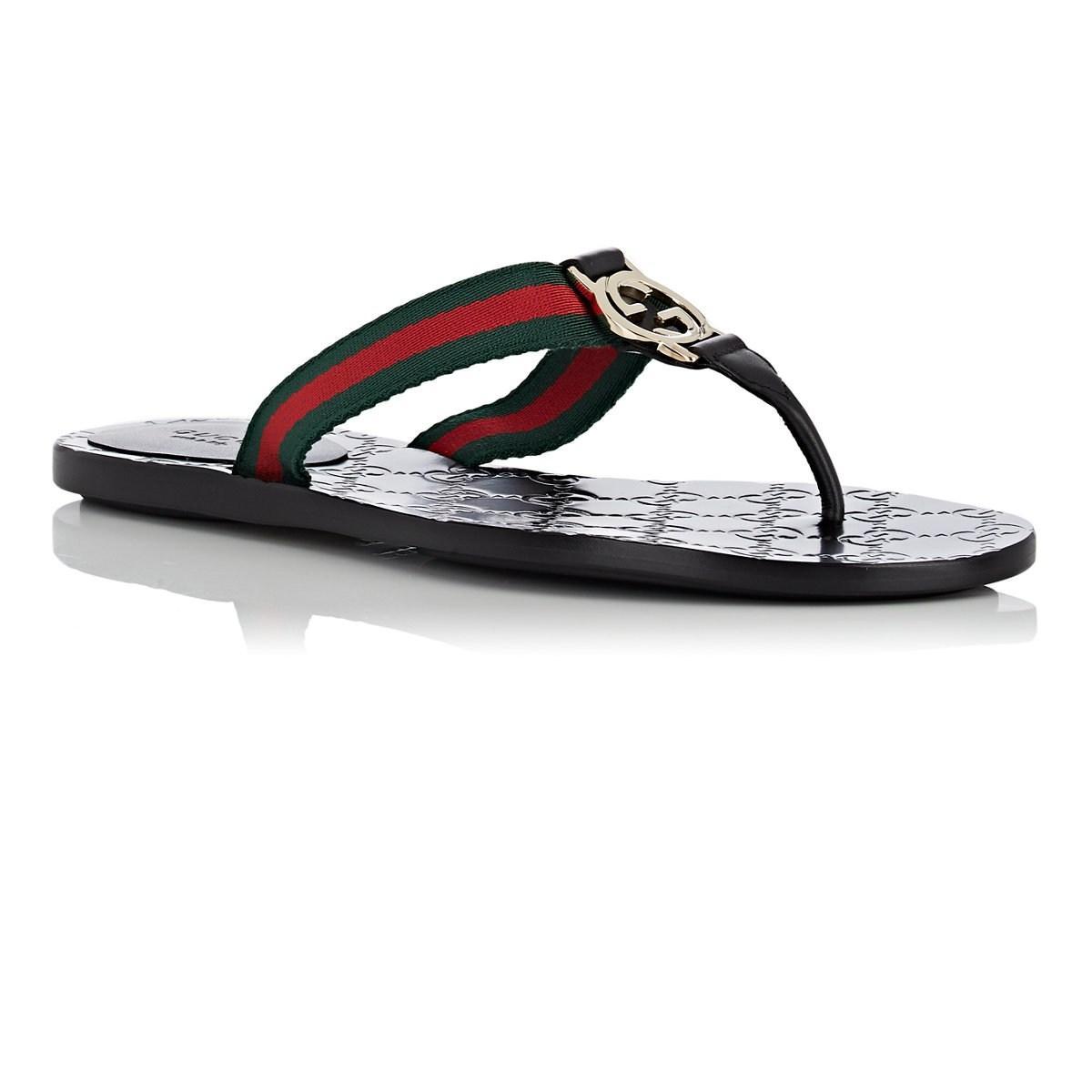 62a16d298930 Gucci - Black Leather   Nylon Thong Sandals - Lyst. View fullscreen
