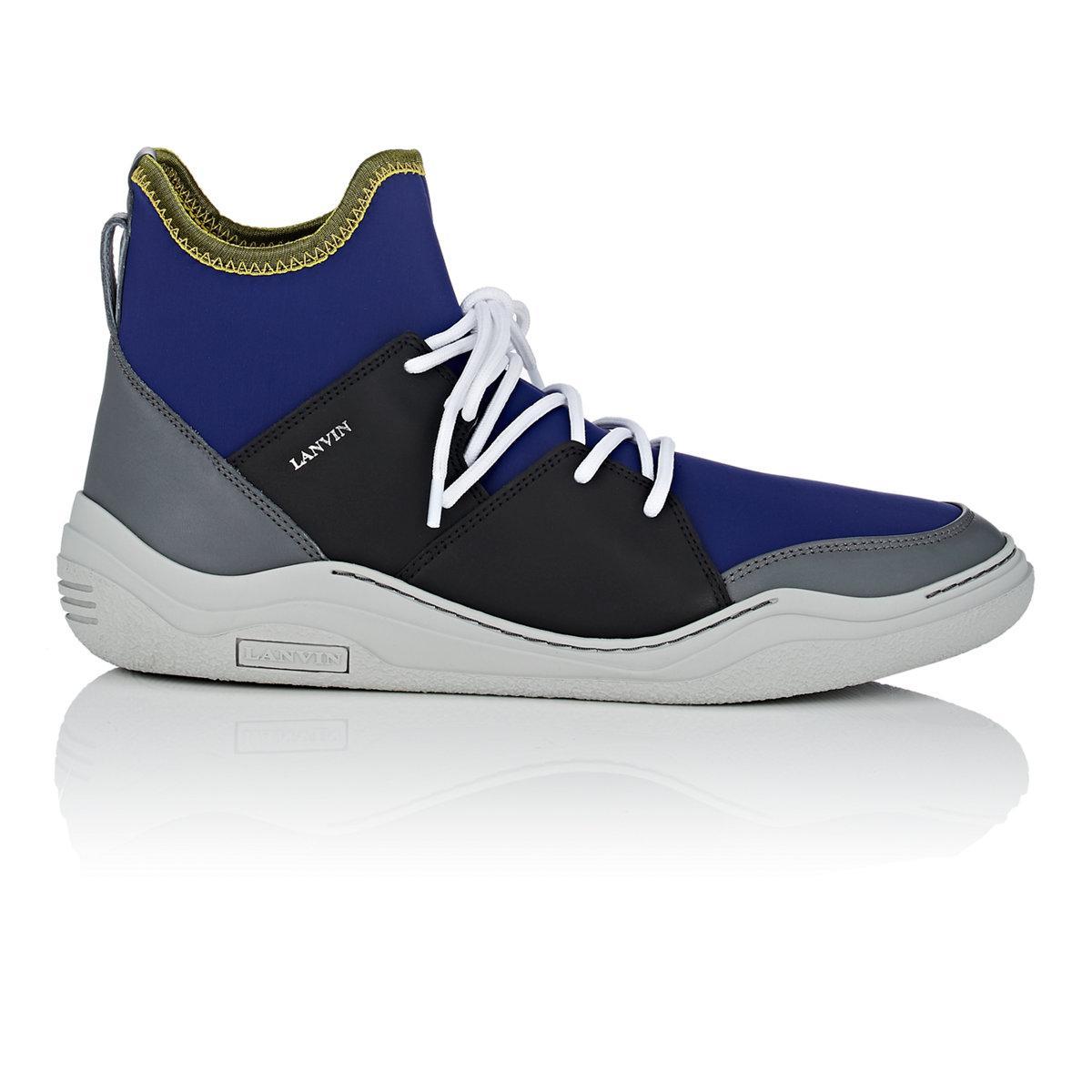 Mens Neoprene & Leather Sneakers Lanvin ktrLdwh