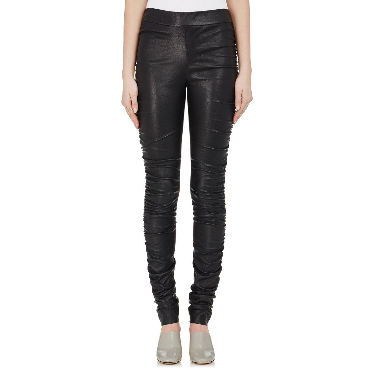 966f867b038424 Lyst - The Row Orshen Ruched Leather Leggings in Black