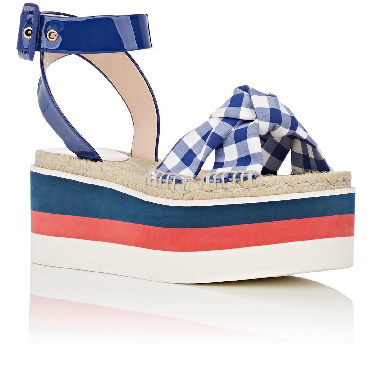 029c3afd9 Lyst - Gucci Crisscross-strap Gingham Platform Sandals in Blue