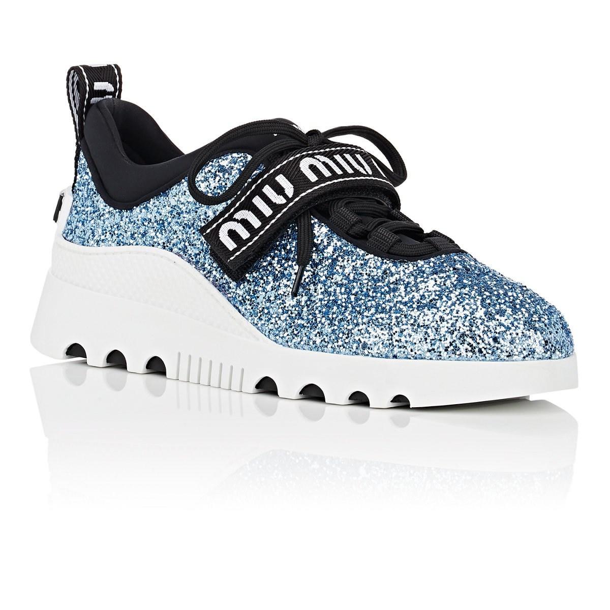 c1645b361e Miu Miu - Blue Logo-strap Glitter Platform Sneakers - Lyst. View fullscreen