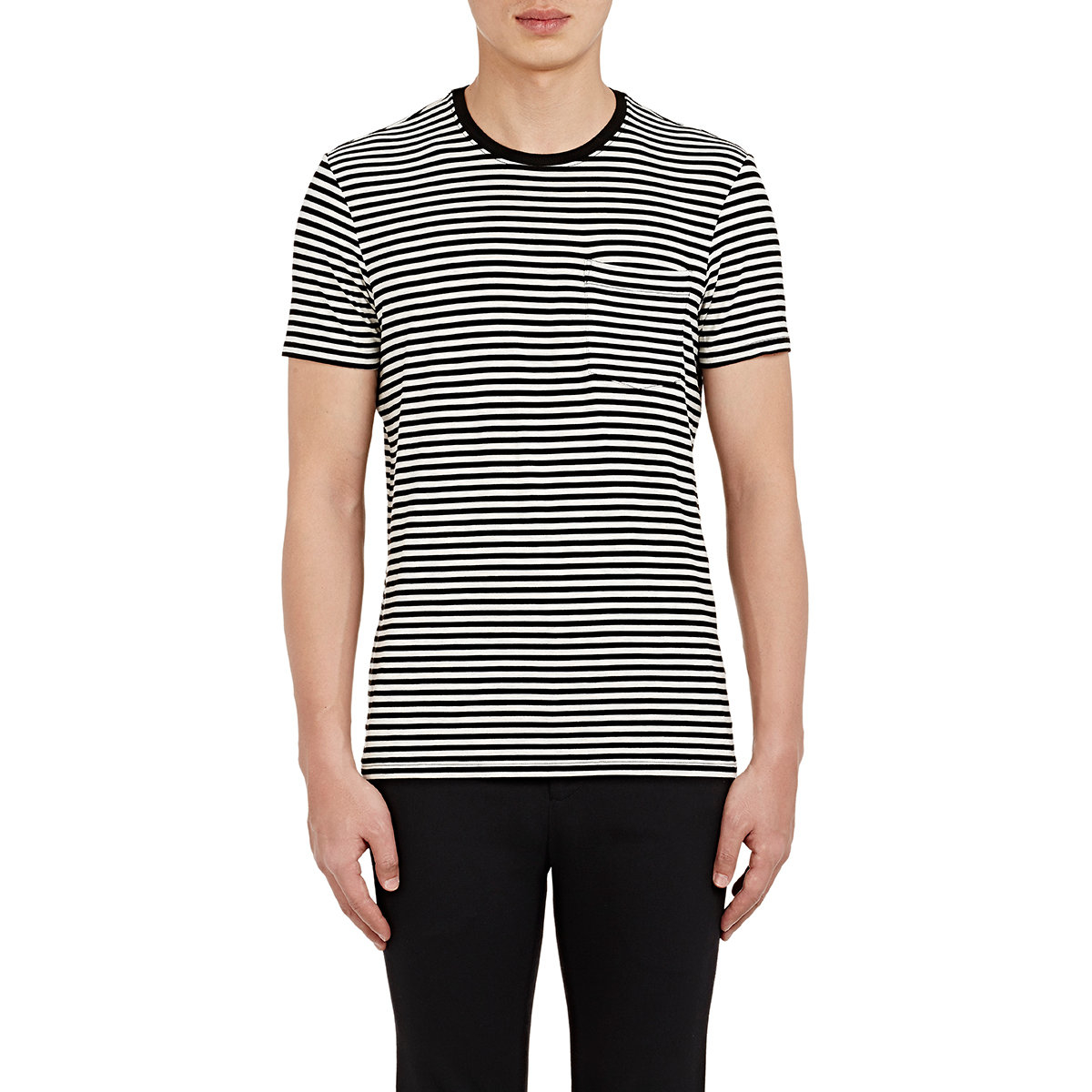 Lyst atm men 39 s striped jersey t shirt in black for men for Atm tee shirts barneys