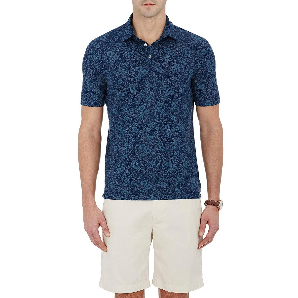Lyst zanone men 39 s floral polo shirt in blue for men for Blue floral shirt mens