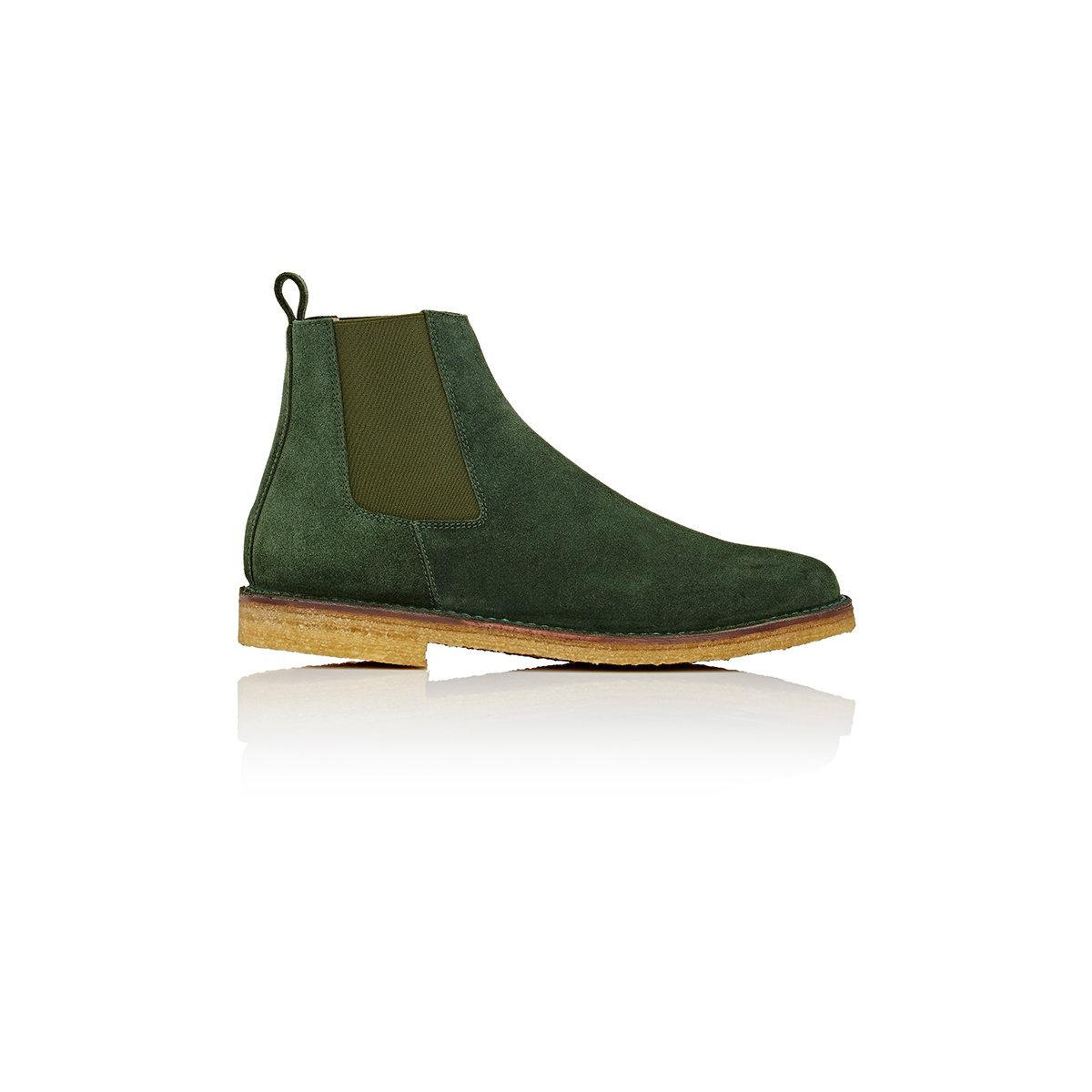 Barneys New York Crepe Sole Chelsea Boots In Green For Men