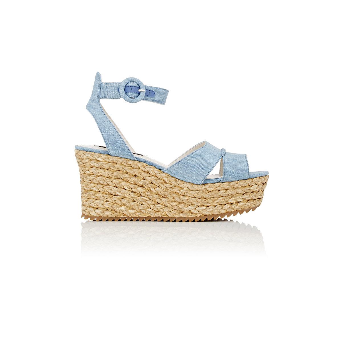 6576dfcba50 Lyst - Alice + Olivia Roberta Denim Platform-wedge Sandals in Blue