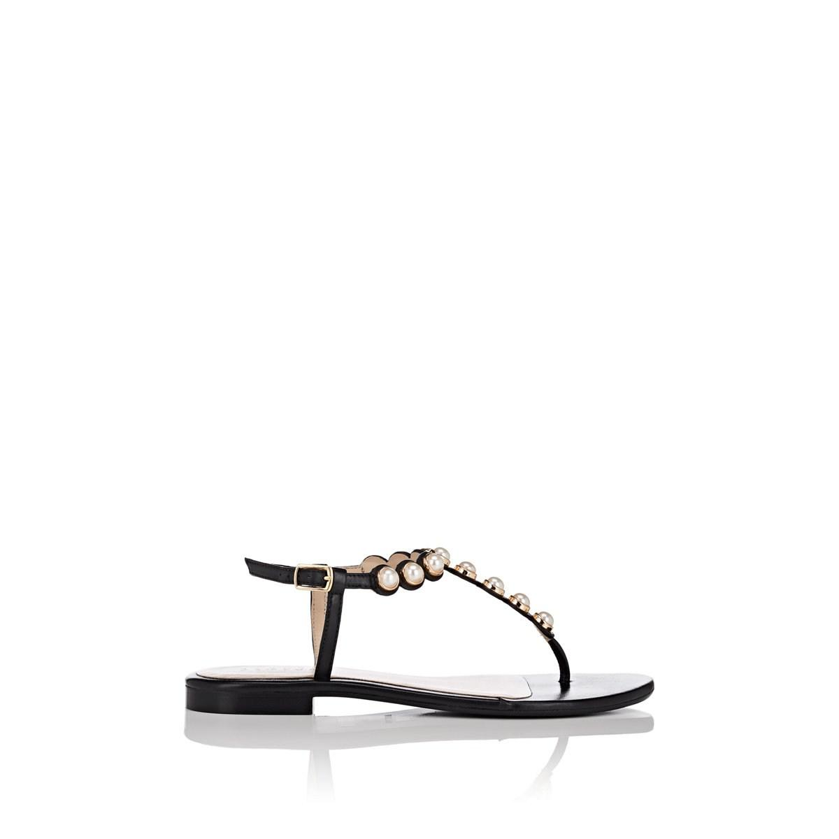479dc9ed40b9c Lyst - Barneys New York Embellished Thong Sandals in Black