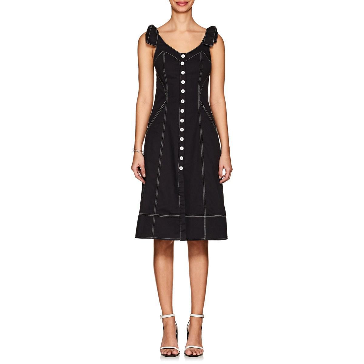 ca3d9015062 Lyst - Ulla Johnson Emory Topstitched Denim Button-down Dress in Black