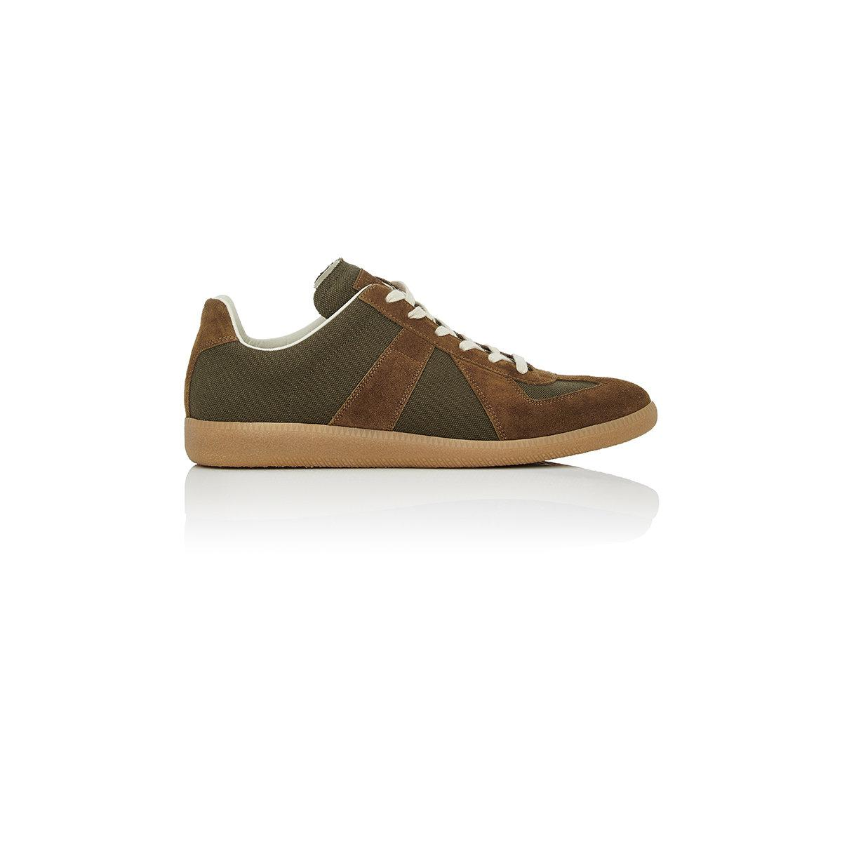 maison margiela replica canvas suede trainers in green for men lyst. Black Bedroom Furniture Sets. Home Design Ideas