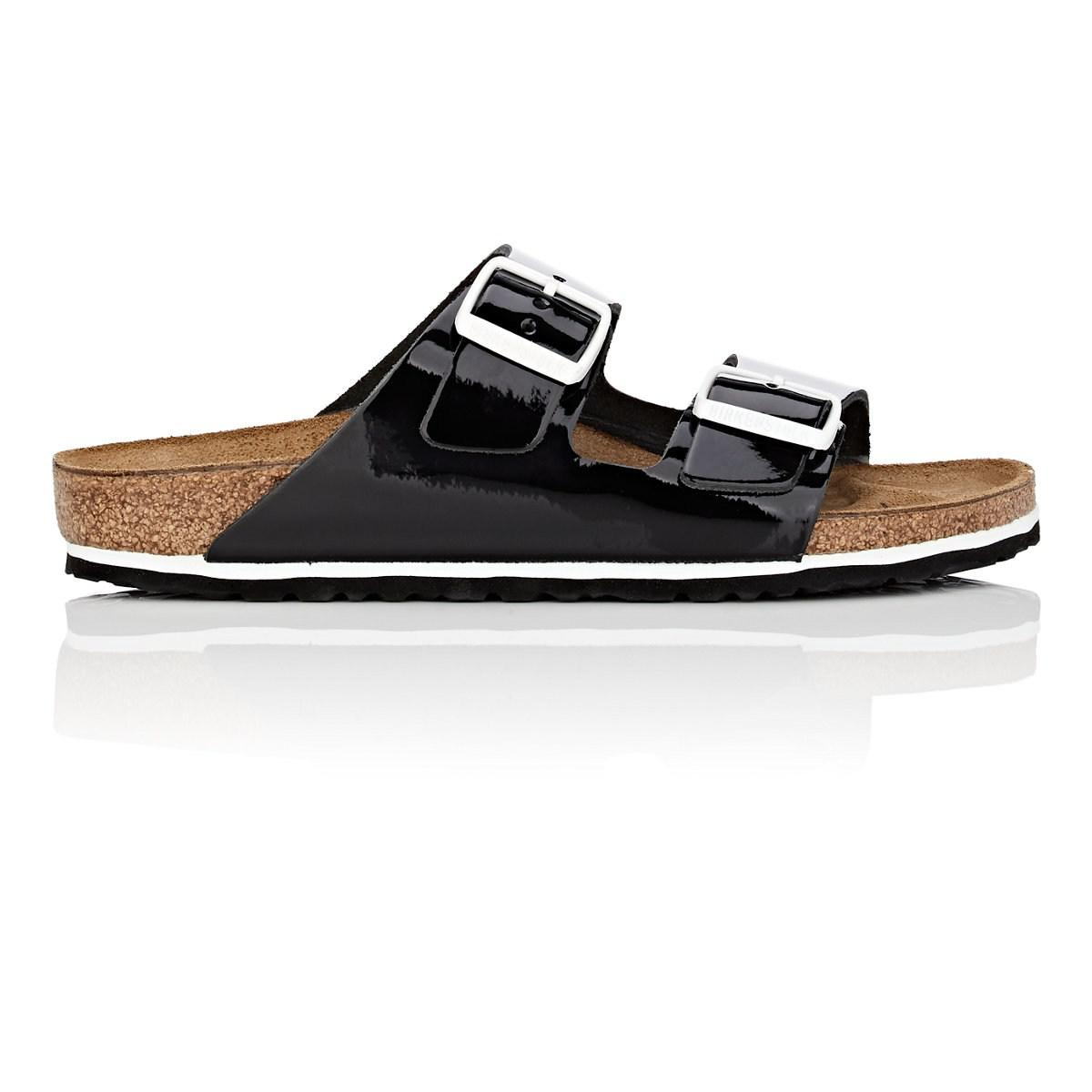Lyst - Birkenstock Arizona Patent Leather Double-buckle Sandals in Black 3fe6edf699