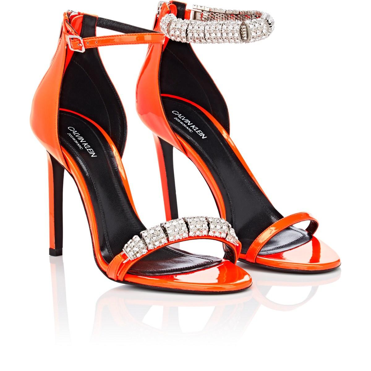 d3b749603acb4d CALVIN KLEIN 205W39NYC - Orange Camelle Patent Leather Sandals - Lyst. View  fullscreen