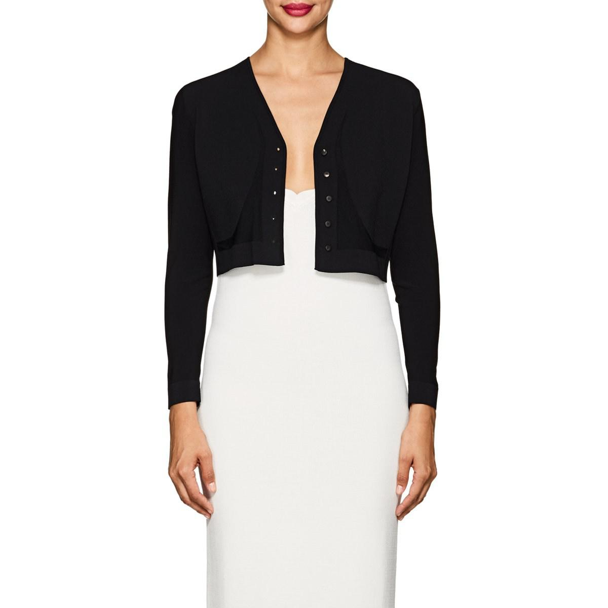 56f2a7651c Lyst - Narciso Rodriguez Compact Knit Crop Cardigan in Black