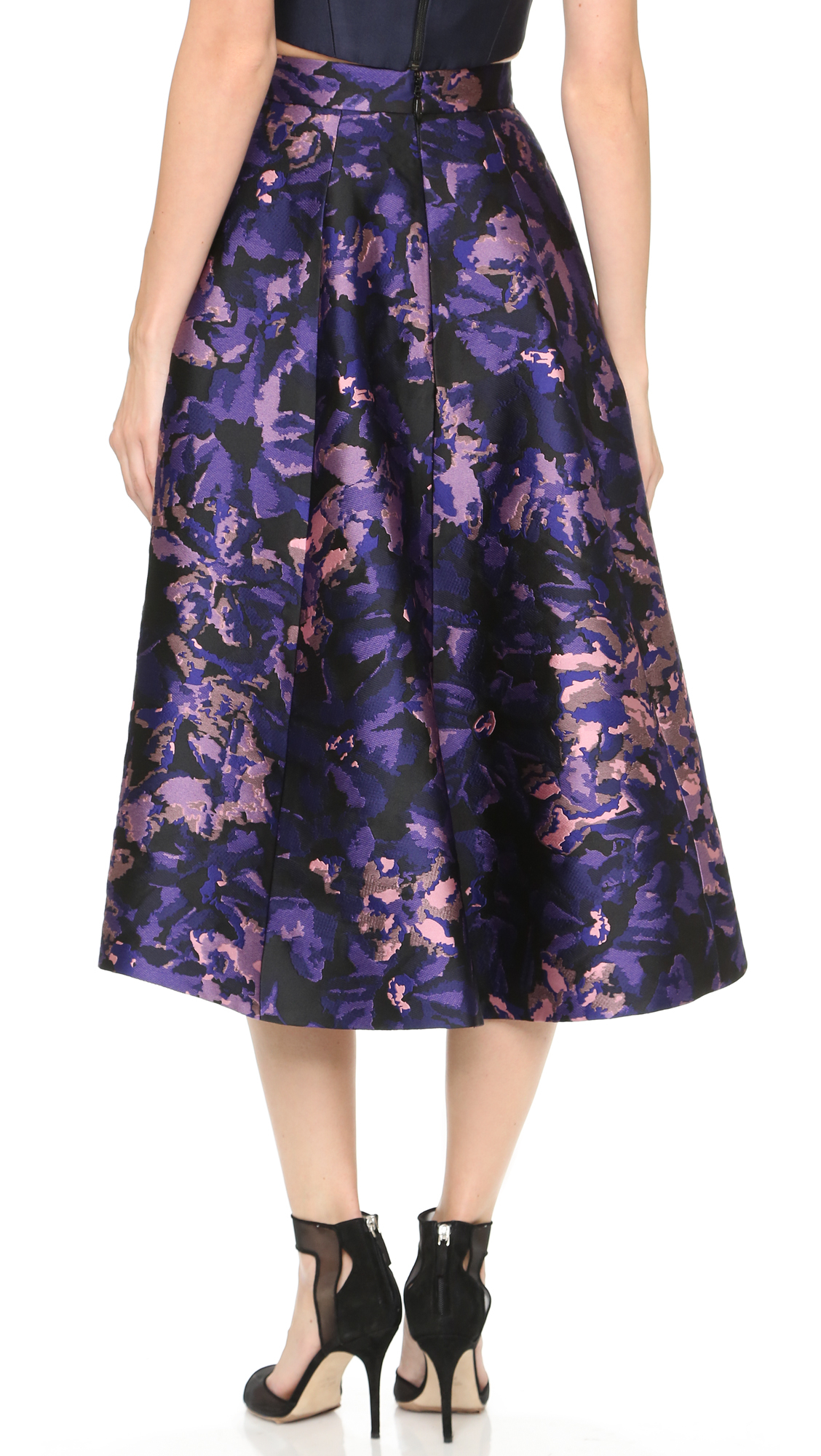 Monique lhuillier Tea Length A Line Skirt - Plum Multi in Purple ...