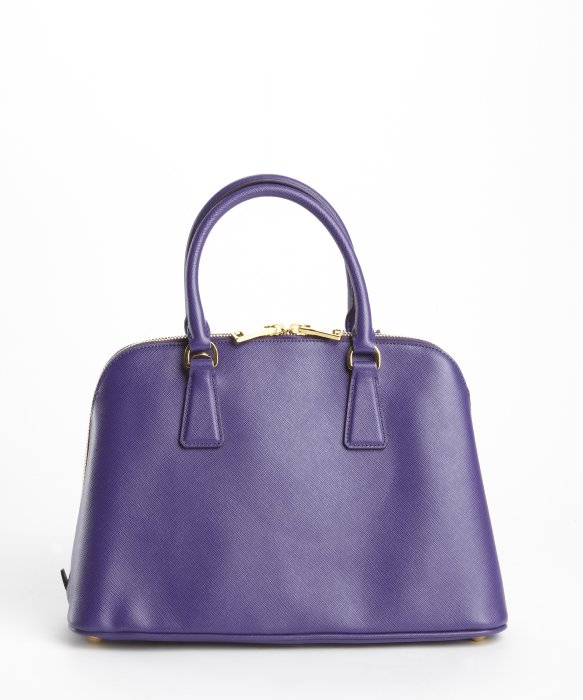 d49d6dca63c3 free shipping denmark lyst prada purple saffiano leather double zip top  handle handbag 9bb62 5721b 03753