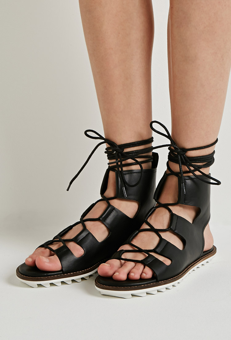 Forever 21 Faux Leather Lace Up Gladiator Sandals You Ve