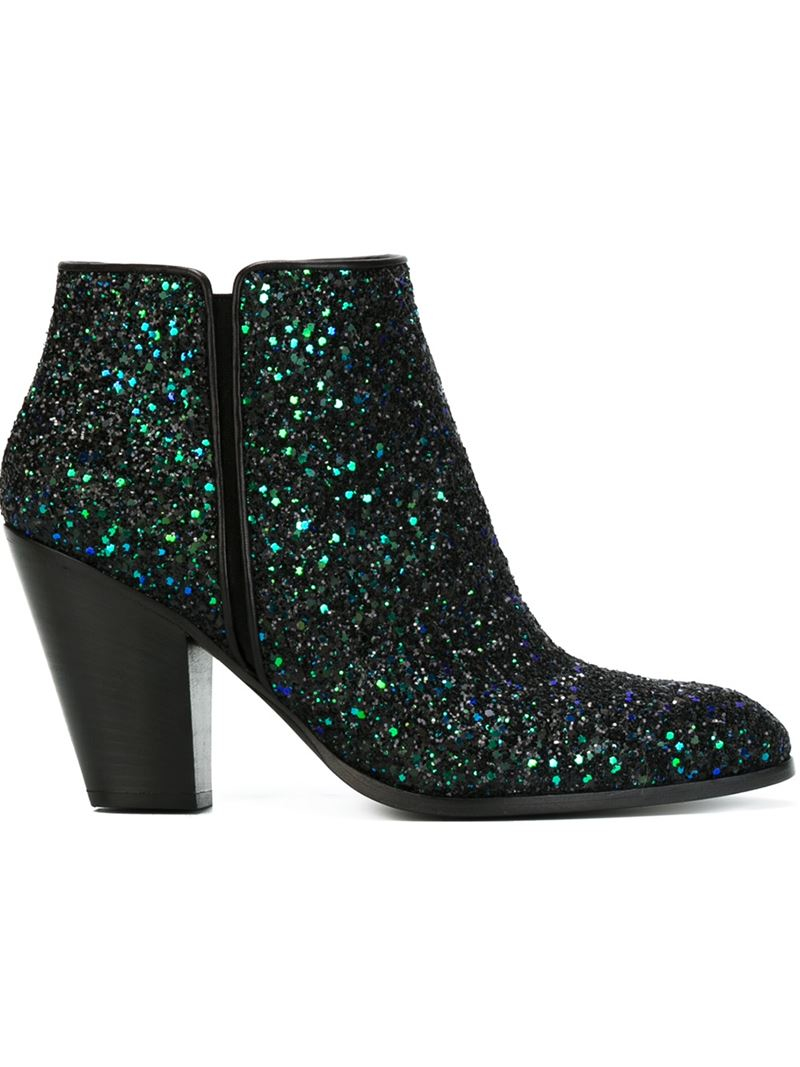 giuseppe zanotti glitter ankle boots in green lyst