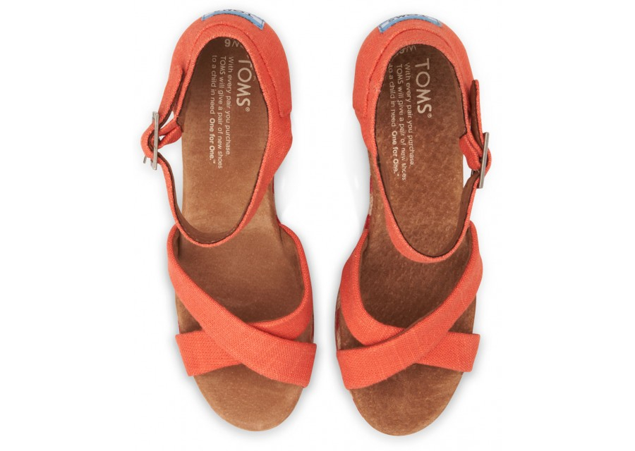 Lyst Toms Coral Mixed Rope Womens Strappy Wedges In Orange