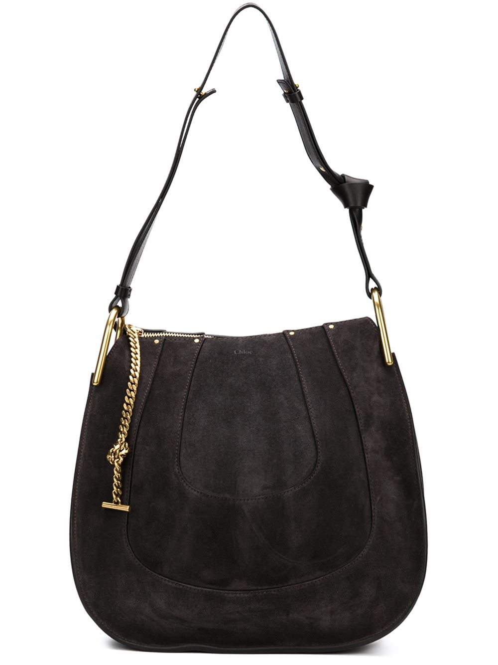 9101cedabc43 Chlo¨¦ Hayley Leather Shoulder Bag in Black (GREY)