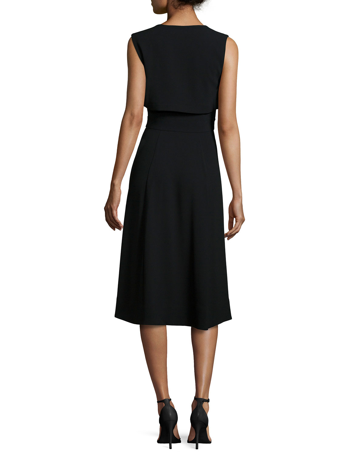Dkny Sleeveless Zip Front Fit Amp Flare Dress In Black Lyst
