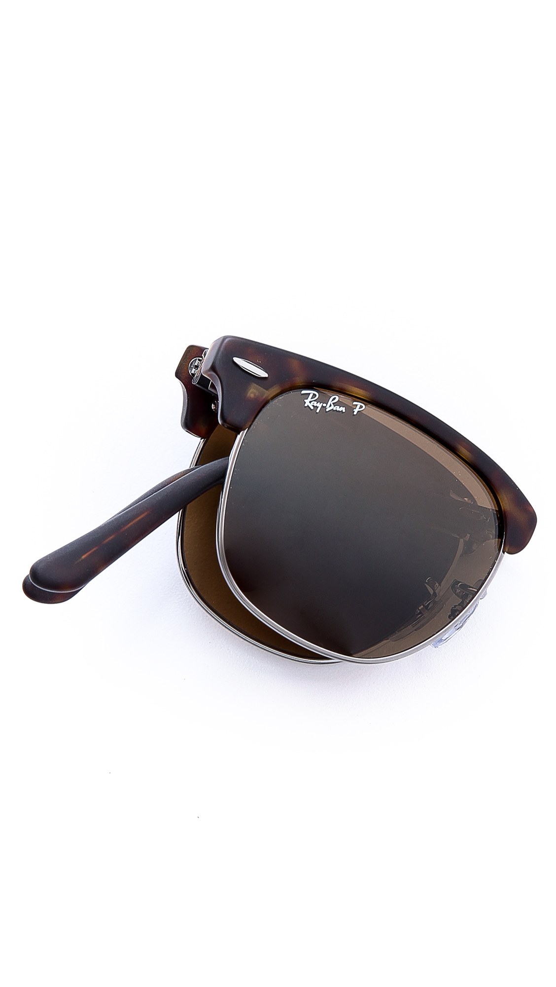 129cf62747 7010b a545f  sale lyst ray ban clubmaster folding polarized sunglasses in  brown for men 40dc3 57b20