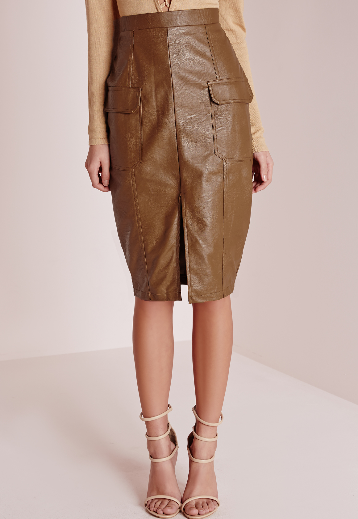 missguided faux leather pocket pencil skirt in brown