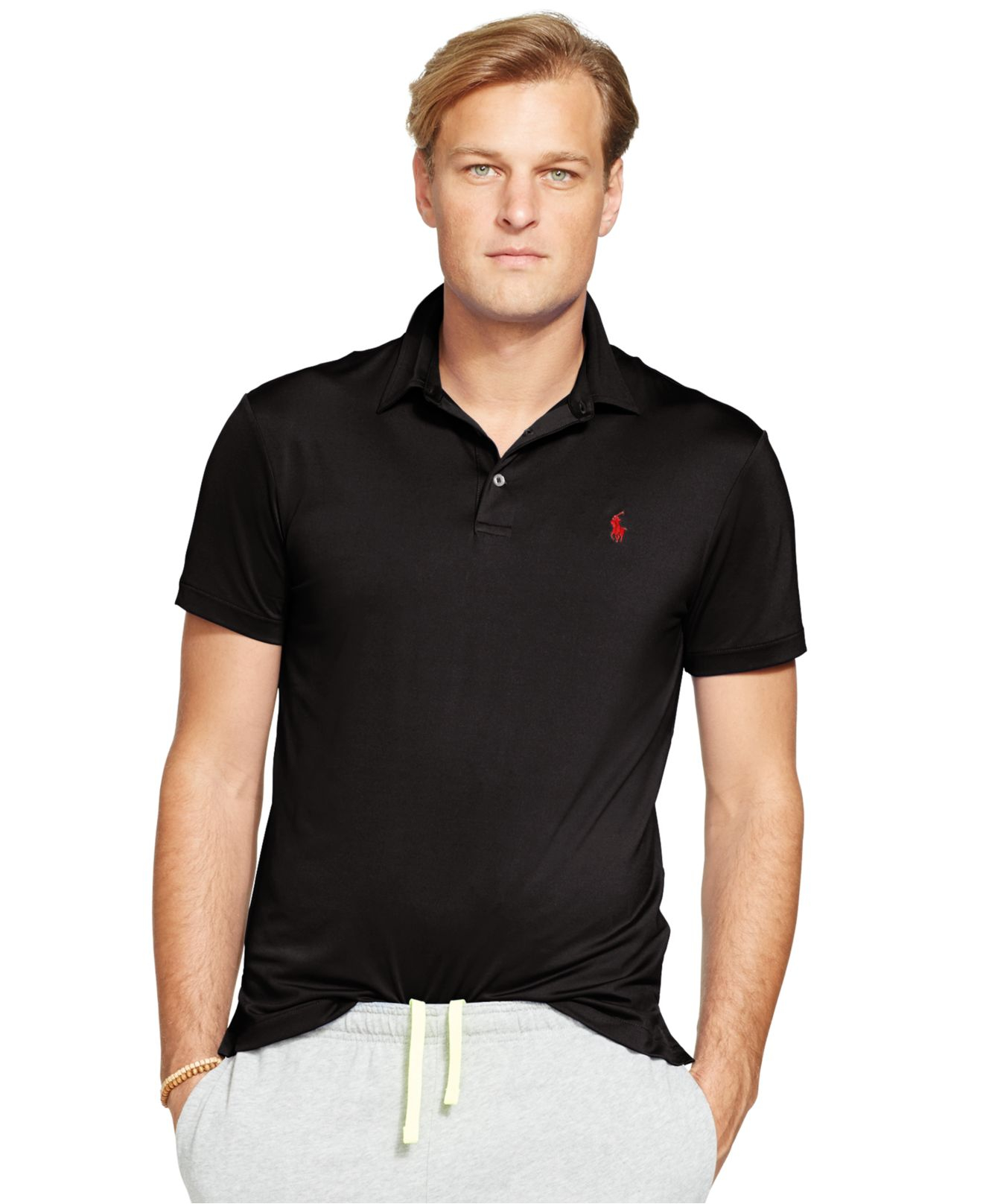 lyst polo ralph lauren big tall performance polo shirt in black for men. Black Bedroom Furniture Sets. Home Design Ideas