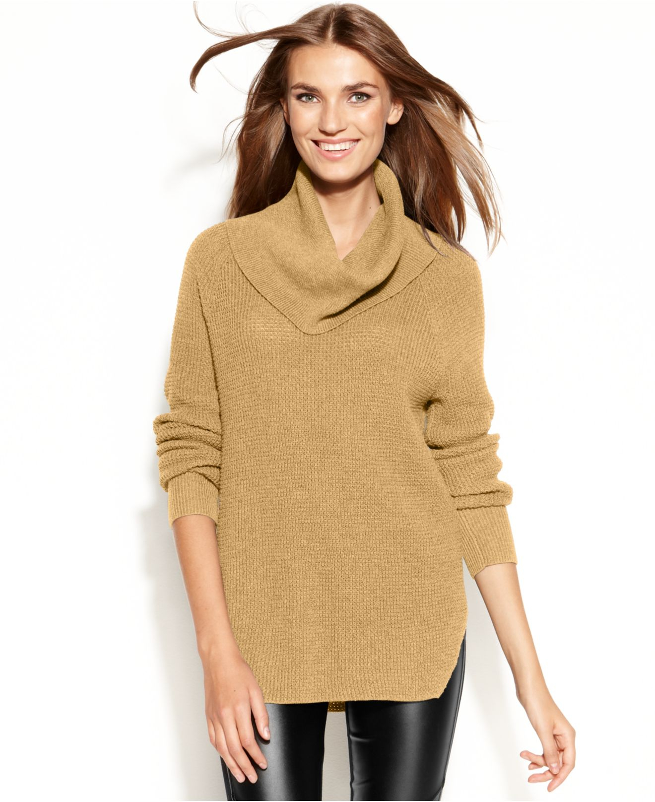 Michael kors Michael Chunky Knit Cowl-Neck Sweater in Natural | Lyst